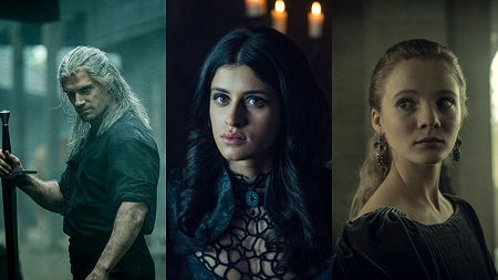 Henry Cavill as Geralt, Anya Chalotra as Yennefer and Freya Allan as Ciri in three split images.