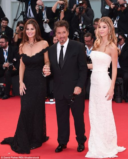 Hollywood star Al Pacino with his gorgeous wife Lucila Sola and Camila Morrone.