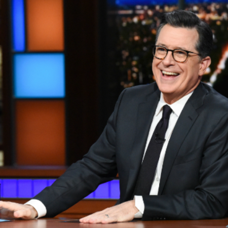 In Action: Hosting His Show, The Late Show with Stephen Colbert.