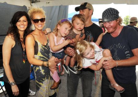 Little Big Town members with their children.