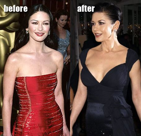 catherine in the 90s awards show in a red strapless gown. right: catherine in a black deep neck gown
