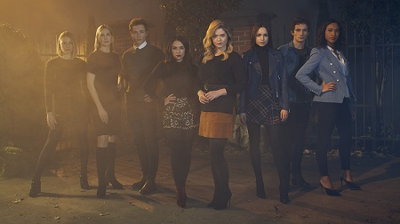 (In random order) Sasha Pieterse, Janel Parrish, Sofia Carson, Sydney Park, Eli Brown, Kelly Rutherford, Hayley Erin, Graeme Thomas King posing for the show.