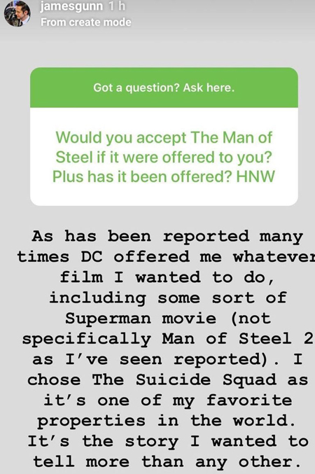 James Gunn talks about being offered the Superman movie, during a Q&A session.