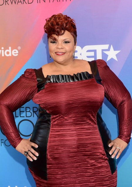 Tamela Mann at the BET awards in a stunning red dress.