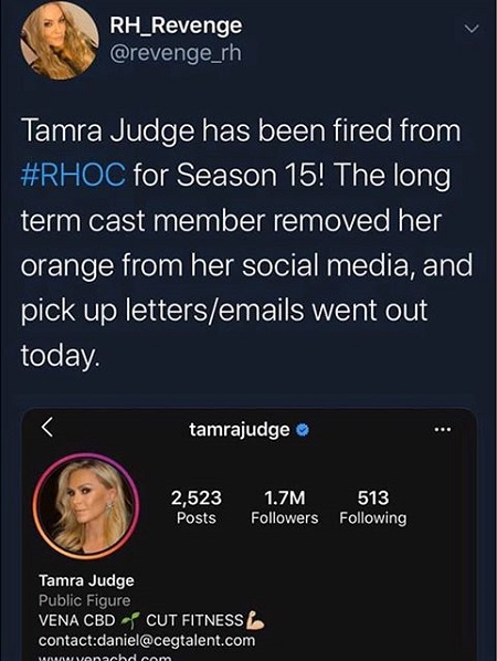 A snipped shared by the Instagram user mentioned below, of Judge's Orange emoji being removed and announcing she was fired from the show.