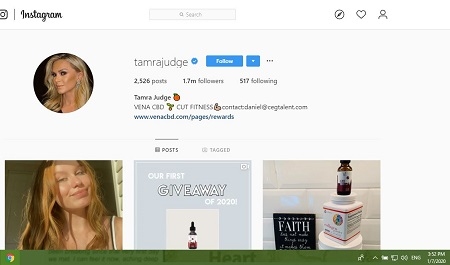 A snapshot of Tamra Judge's Instagram profile with the orange emoji shown.