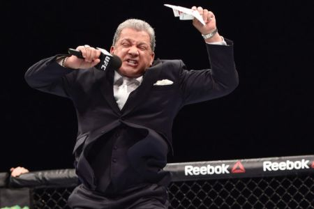 Bruce Buffer caught on the camera while announcing in UFC.