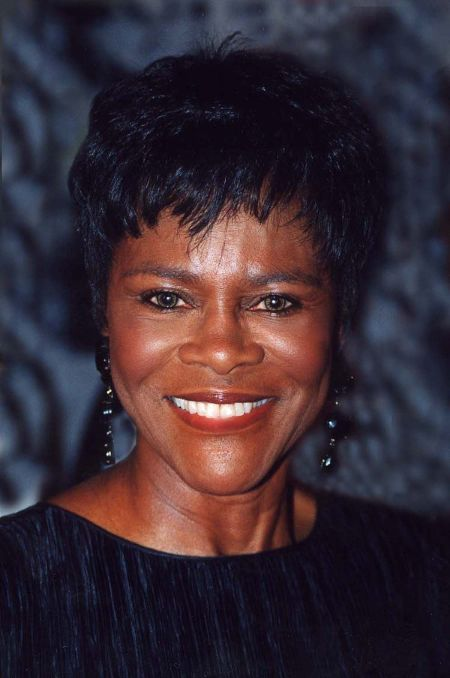 Cicely Tyson caught on the camera smiling in a black t-shirt.