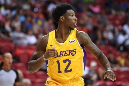 Devontae Cacok in the jersey of LA Lakers.