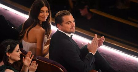 Leo and Camila were on the front seat alongside Brad Pitt.