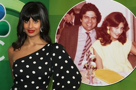 Jameela Jamil in the red carpet, with her parents' old picture popping on the side.