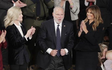 Rush Limbaugh with his wife Kathryn Adams Limbaugh (left) and the First Lady of United States (right).