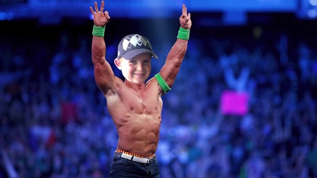 Joe Weller's 12-year-old head photoshopped into John Cena's body.