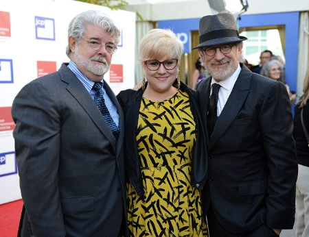 Katie with two legendary director/father George (Left) and Steven Spielberg (Right).