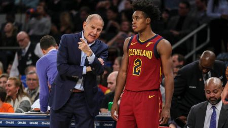 Cleveland Cavaliers head coach John Beilein with #02 players Collin Sexton.