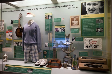 The Mickey Wright exhibit at The United States Golf Association Museum. The exhibit was the museum's first to honor the career of a prominent female golfer.