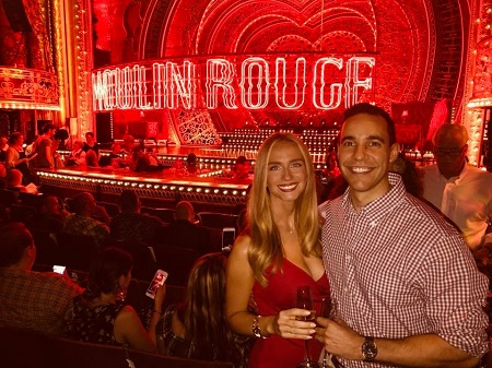 Kelly Ann Cicalese, with her husband, Edward Davila at a 'Moulin Rouge- The Musical' show in 2018.