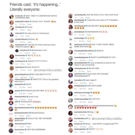 comments by celebs hearing the friends reunion