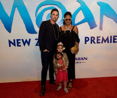 Jay Ryan and his girlfriend Dianna Fuemana with their daughter Eve.