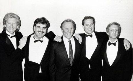 The American Academy of Dramatic Arts Tribute to Kirk Douglas. In photo, Peter Douglas, Joel Douglas, Kirk Douglas, Michael Douglas, and Eric Douglas.
