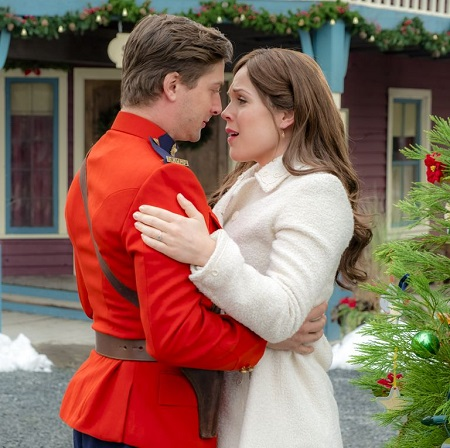Daniel Lissing and Erin Krakow in a scene from 'When Calls the Heart'.