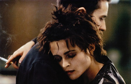 Edward Norton and Helena Bonham Carter's characters hugging each other in 'Fight Club'.
