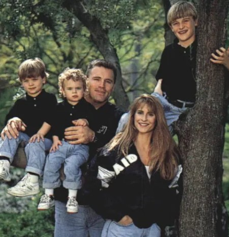 Diane Addonizio, Howie Long's wife, with her kids and husband.