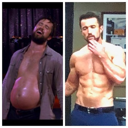 A side to side comparison of Rob McElhenney's weight loss transformation, before and after photos.