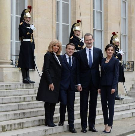 The French president Emmanuel Macron and his wife Brigitte Macron welcomed king and queen of Spain, Felipe VI, and Letizia with a namaste bow.