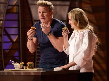 Matilda and Gordon during the Masterchef Junior show