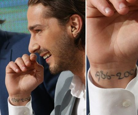 Shia Labeouf The right wrist tattoo of 1986-2004