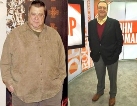 A picture depicting the change of John Goodman after his weight loss journey.