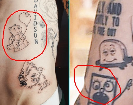 Pete has many tattoo of cartoon characters in his body.