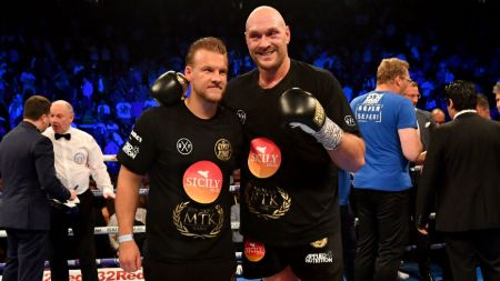 Tyson Fury with his Trainer, Ben Davison.