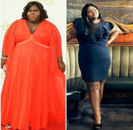Then and now commendable weight loss comparison of Gabourey.