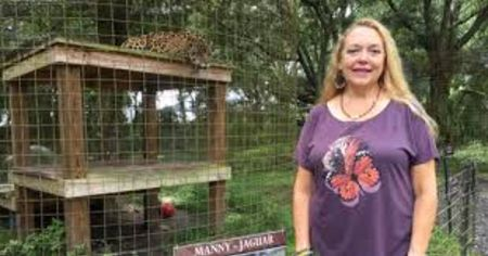Carole Baskin Net Worth: Carole Baskin in a purple t-shirt poses for a picture in front of caged tiger.