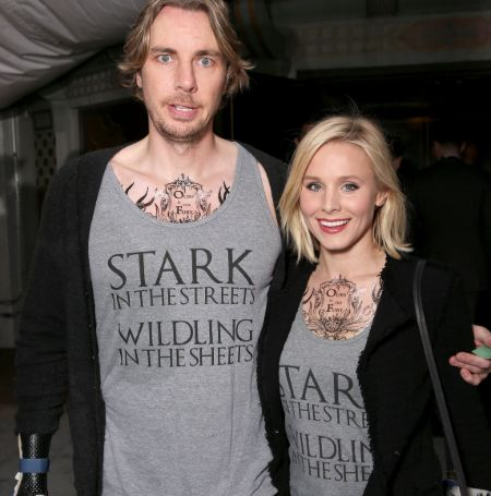 Kristen Bell and Dax Shepard matching tats in Game of Throne sixth sequel premiere.