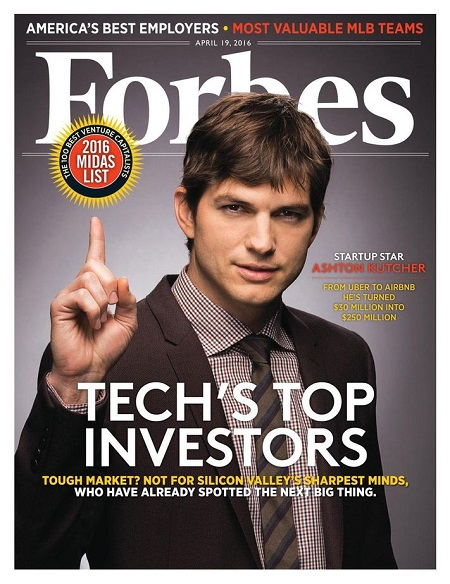 Ashton Kutcher lands at No. 1 on the Venture Capitalist list for investing in rounds totaling $3.1 billion.