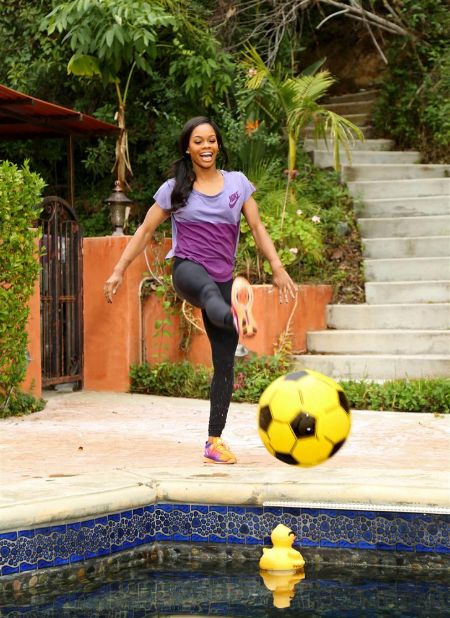 Gabby Douglas currently lives with her family in her Tarzana, California home.