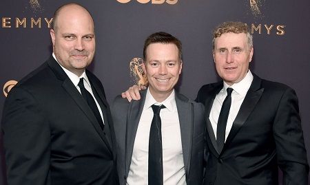 (L-R) Chris Parnell and Jason Clodfelter co-presidents of Sony Pictures Television Studios, and Jeff Frost President of Sony Pictures Television Studios attend the 69th Annual Primetime Emmy Awards at Microsoft Theater on September 17, 2017, in Los Angeles, California.