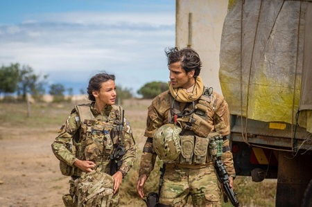 Michelle Keegan and Ben Aldridge of 'Our Girl' in military costumes.