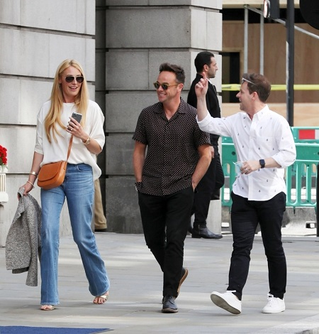 Ant, Dec and Cat Deeley walking in the streets in July 2020.