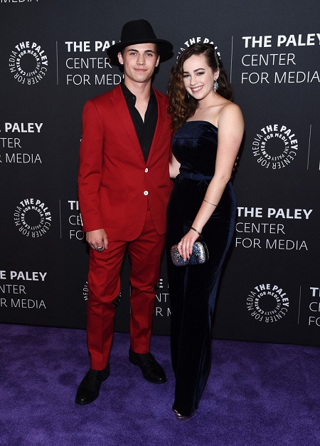 "Tanner Buchanan (L) and Mary Mouser (R) attend the premiere screening and conversation of YouTube Original's ""Cobra Kai"" Season 2 at The Paley Center for Media on April 22, 2019 in Beverly Hills, California."