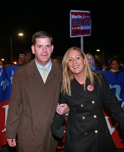 Marty Walsh and his girlfriend Lorrie Higgins pose a picture.