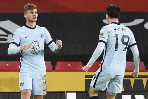 Chelsea's Mason Mount and Timo Werner caught on the camera celebrating.