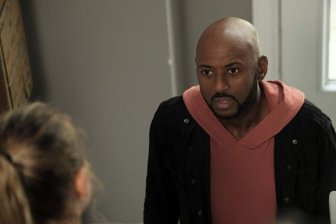 Romany Malco caught on the camera while acting for a series.
