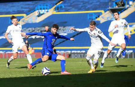 Chelsea's Christian Pulisic shooting against Leeds United.