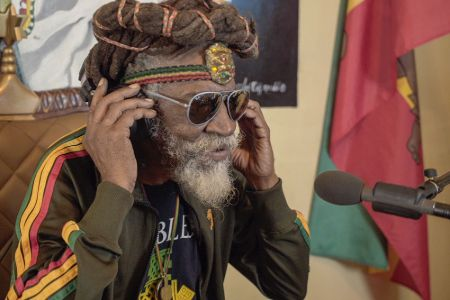 Bunny Wailer caught  on the camera while recording a song.