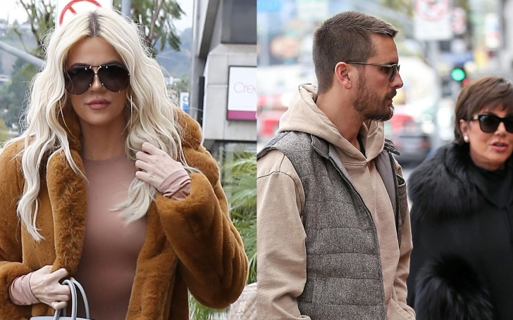 Khloe Kardashian Spotted On Her Way To Lunch In Sherman Oaks Joined By Kris Jenner and Scott Disick