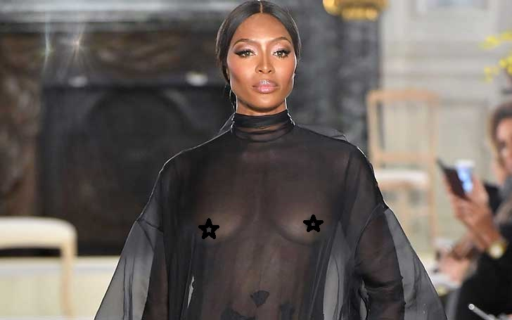 Supermodel Naomi Campbell Goes Braless for Valentino fashion show